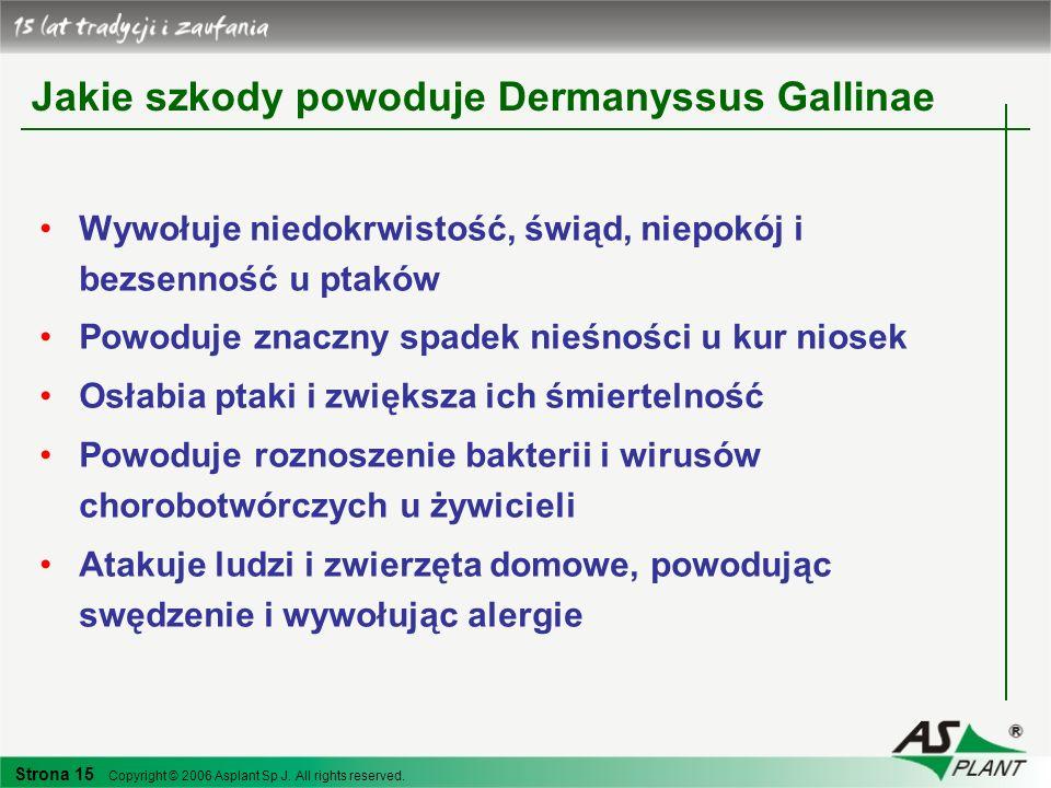 Strona 15 Copyright © 2006 Asplant Sp J. All rights reserved. Jakie szkody powoduje Dermanyssus Gallinae Wywołuje niedokrwistość, świąd, niepokój i be