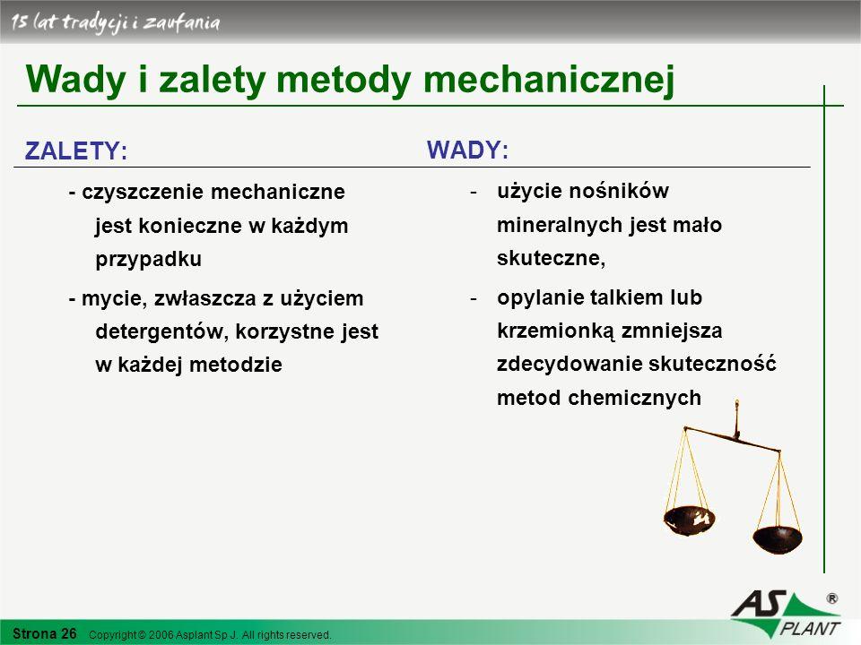Strona 26 Copyright © 2006 Asplant Sp J. All rights reserved. Wady i zalety metody mechanicznej ZALETY: - czyszczenie mechaniczne jest konieczne w każ