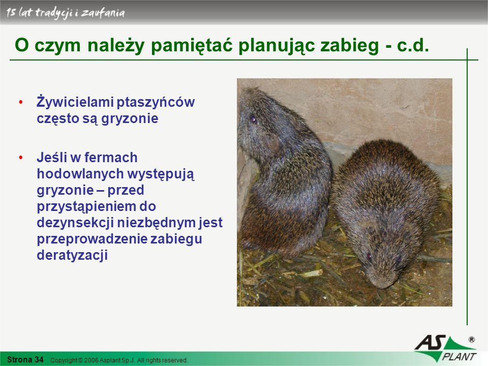 Strona 34 Copyright © 2006 Asplant Sp J. All rights reserved. O czym należy pamiętać planując zabieg - c.d. Żywicielami ptaszyńców często są gryzonie