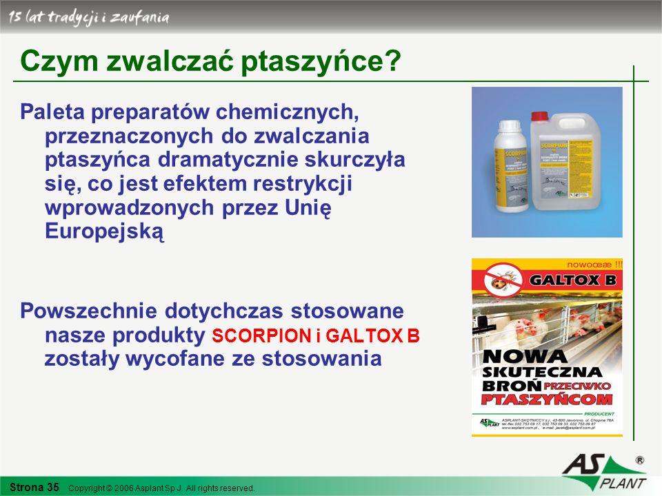 Strona 35 Copyright © 2006 Asplant Sp J. All rights reserved. Czym zwalczać ptaszyńce? Paleta preparatów chemicznych, przeznaczonych do zwalczania pta