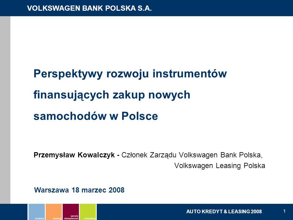 VOLKSWAGEN BANK POLSKA S.A. kredyty | leasing | serwis ubezpieczeń | e-banking AUTO KREDYT & LEASING 2008 1 Perspektywy rozwoju instrumentów finansują