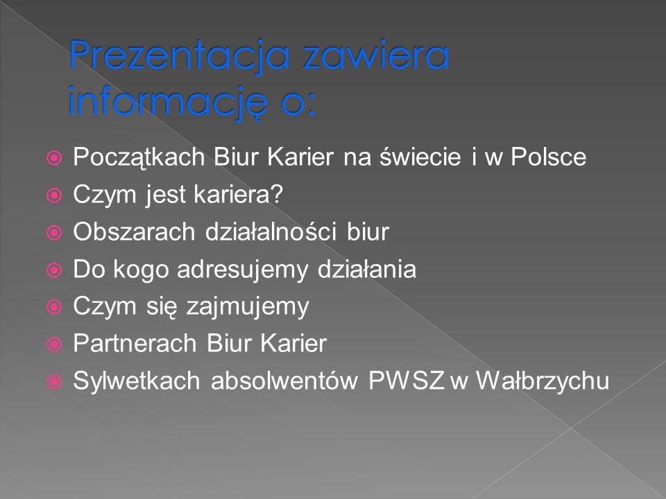 Początkach Biur Karier na świecie i w Polsce Czym jest kariera? Obszarach działalności biur Do kogo adresujemy działania Czym się zajmujemy Partnerach