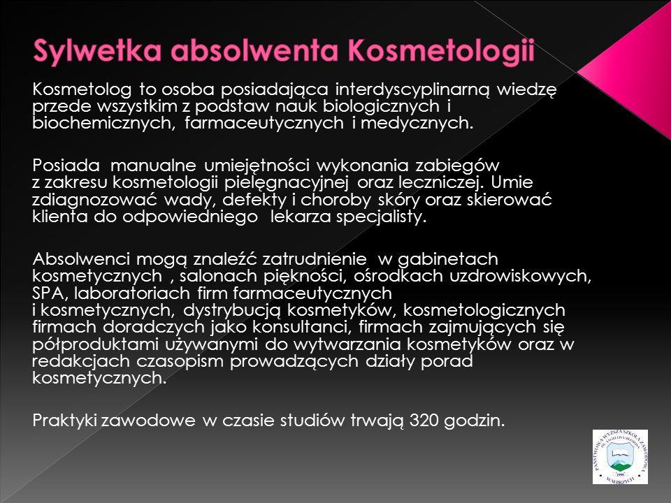 Kosmetolog to osoba posiadająca interdyscyplinarną wiedzę przede wszystkim z podstaw nauk biologicznych i biochemicznych, farmaceutycznych i medycznyc