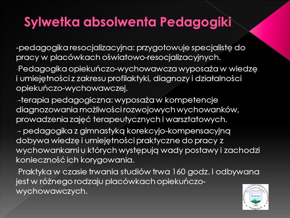 -pedagogika resocjalizacyjna: przygotowuje specjalistę do pracy w placówkach oświatowo-resocjalizacyjnych. - Pedagogika opiekuńczo-wychowawcza wyposaż
