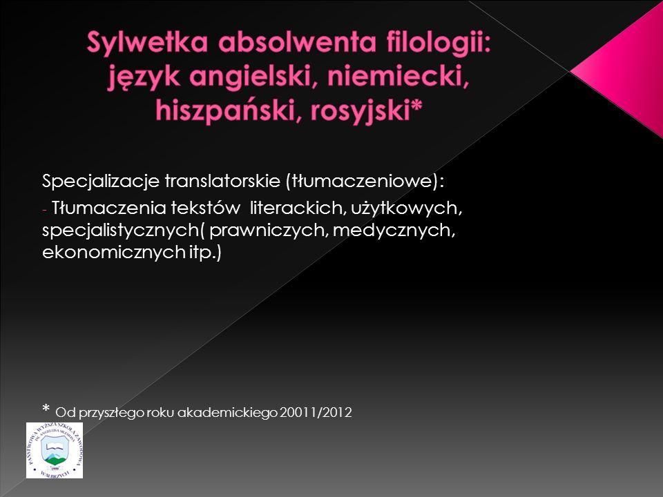 Specjalizacje translatorskie (tłumaczeniowe): - Tłumaczenia tekstów literackich, użytkowych, specjalistycznych( prawniczych, medycznych, ekonomicznych