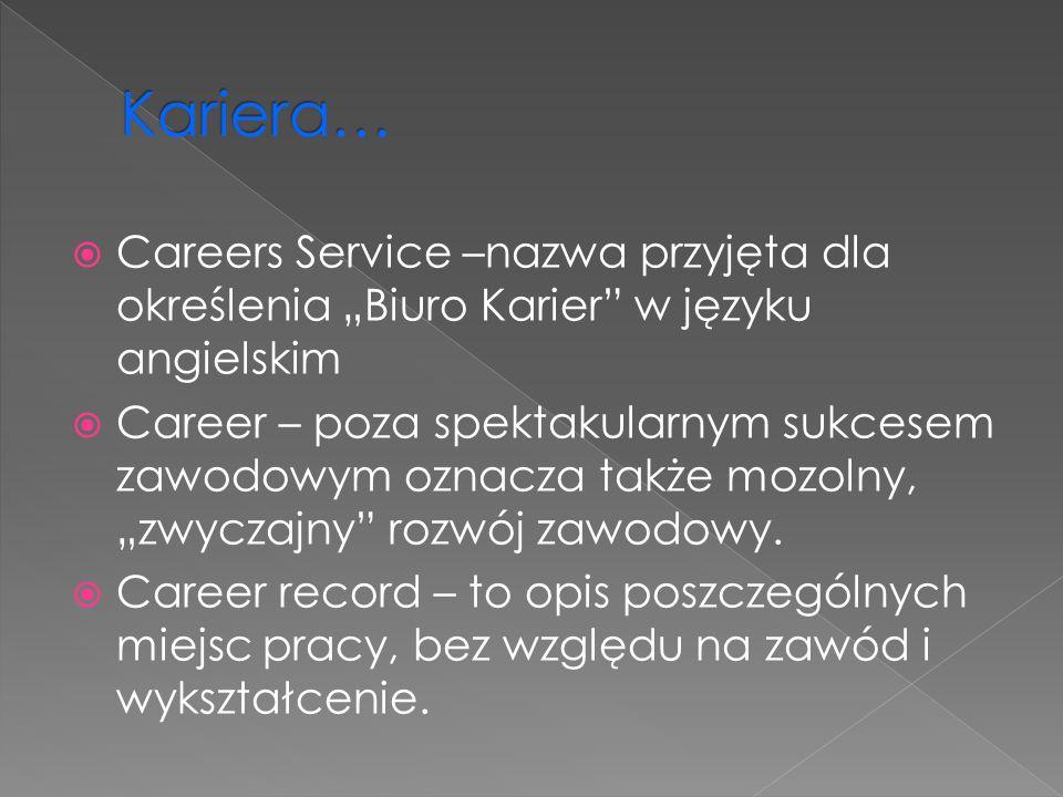 Careers Service –nazwa przyjęta dla określenia Biuro Karier w języku angielskim Career – poza spektakularnym sukcesem zawodowym oznacza także mozolny,
