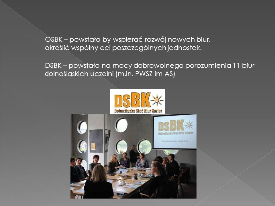 OSBK – powstało by wspierać rozwój nowych biur, określić wspólny cel poszczególnych jednostek. DSBK – powstało na mocy dobrowolnego porozumienia 11 bi