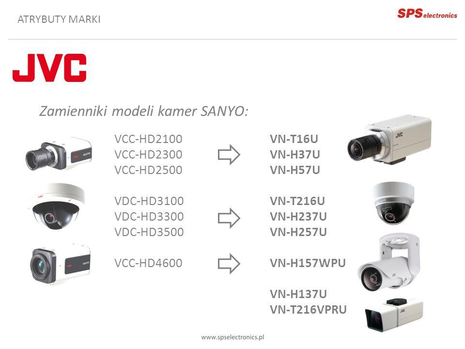 ATRYBUTY MARKI Zamienniki modeli kamer SANYO: VCC-HD2100 VCC-HD2300 VCC-HD2500 VDC-HD3100 VDC-HD3300 VDC-HD3500 VCC-HD4600 VN-T16U VN-H37U VN-H57U VN-