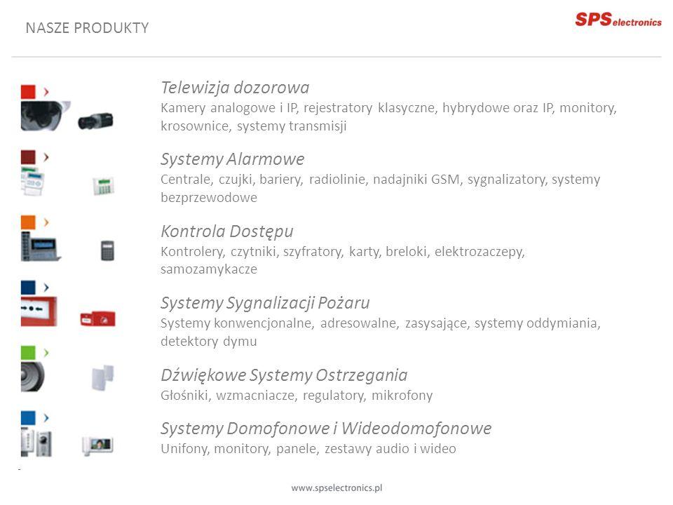 NASZE PRODUKTY Telewizja dozorowa Kamery analogowe i IP, rejestratory klasyczne, hybrydowe oraz IP, monitory, krosownice, systemy transmisji Systemy A