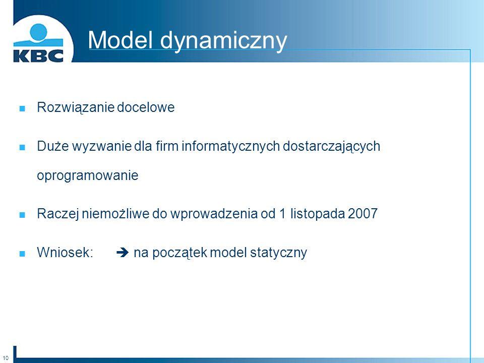 10 Model dynamiczny Rozwiązanie docelowe Duże wyzwanie dla firm informatycznych dostarczających oprogramowanie Raczej niemożliwe do wprowadzenia od 1 listopada 2007 Wniosek: na początek model statyczny