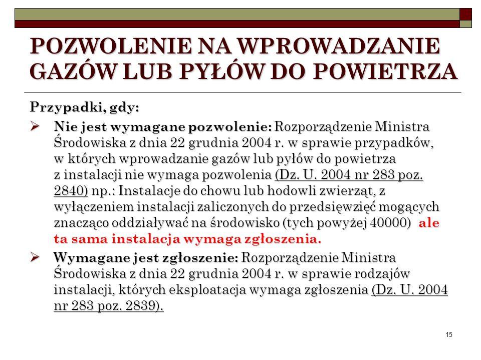 14 POZWOLENIE NA WPROWADZANIE GAZÓW LUB PYŁÓW DO POWIETRZA Wydawane są na podstawie ustawy Prawo ochrony środowiska - Tytuł III Dział IV Rozdział 5 Po