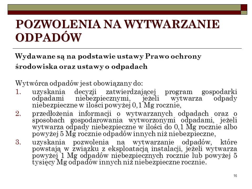 15 POZWOLENIE NA WPROWADZANIE GAZÓW LUB PYŁÓW DO POWIETRZA Przypadki, gdy: Nie jest wymagane pozwolenie: Rozporządzenie Ministra Środowiska z dnia 22