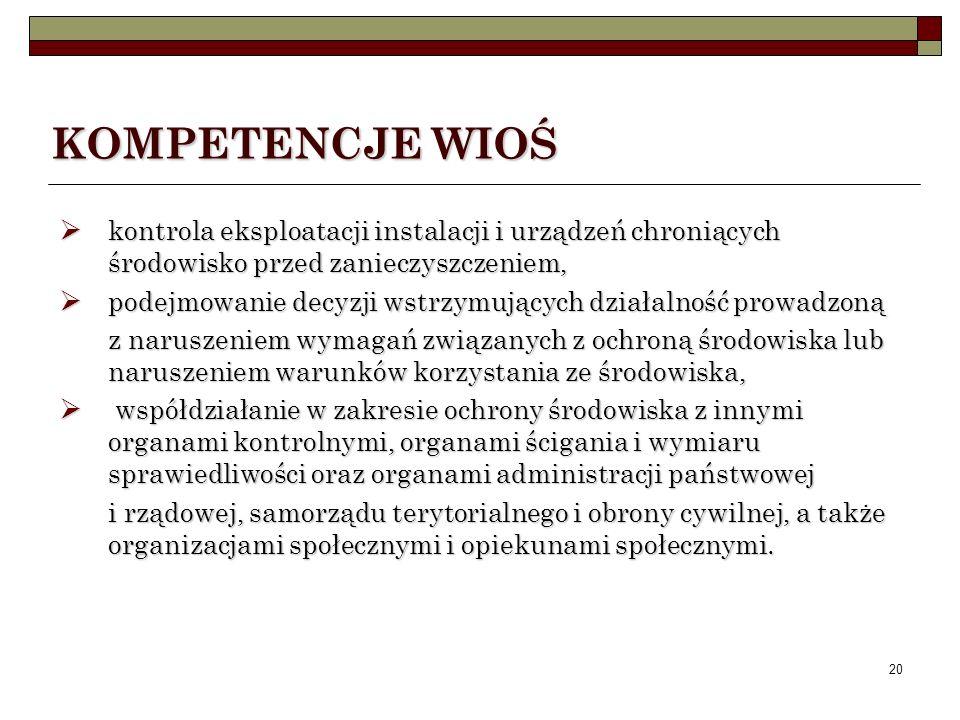 19 KOMPETENCJE WIOŚ Do zadań Inspekcji należy m. in.: kontrola przestrzegania przepisów o ochronie środowiska i racjonalnym użytkowaniu zasobów przyro