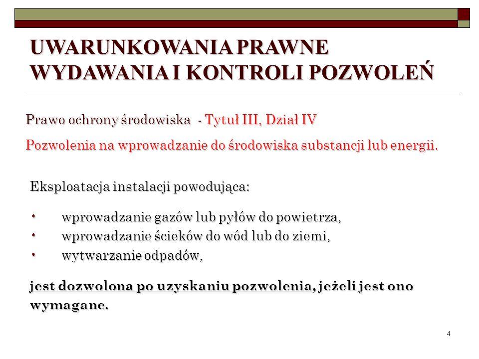 3 Ustawa z dnia 27 kwietnia 2001r. Prawo ochrony środowiska (t.j. z 2008 r. Dz. U. Nr 25, poz. 150 z późn. zm.) Ustawa z dnia 27 kwietnia 2001r. Prawo