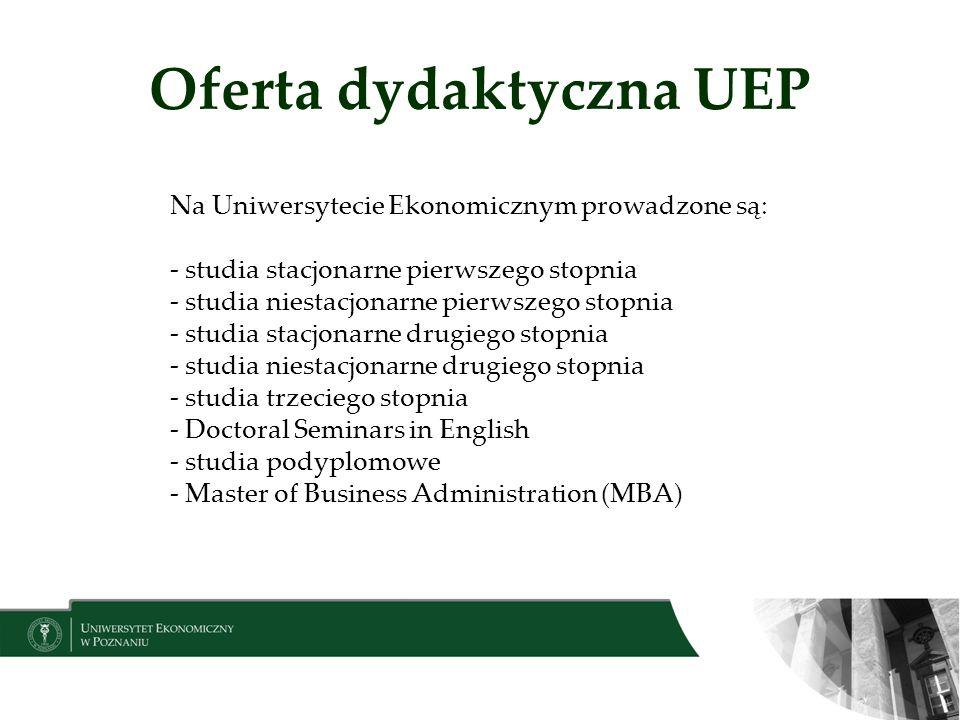 Oferta dydaktyczna UEP Na Uniwersytecie Ekonomicznym prowadzone są: - studia stacjonarne pierwszego stopnia - studia niestacjonarne pierwszego stopnia