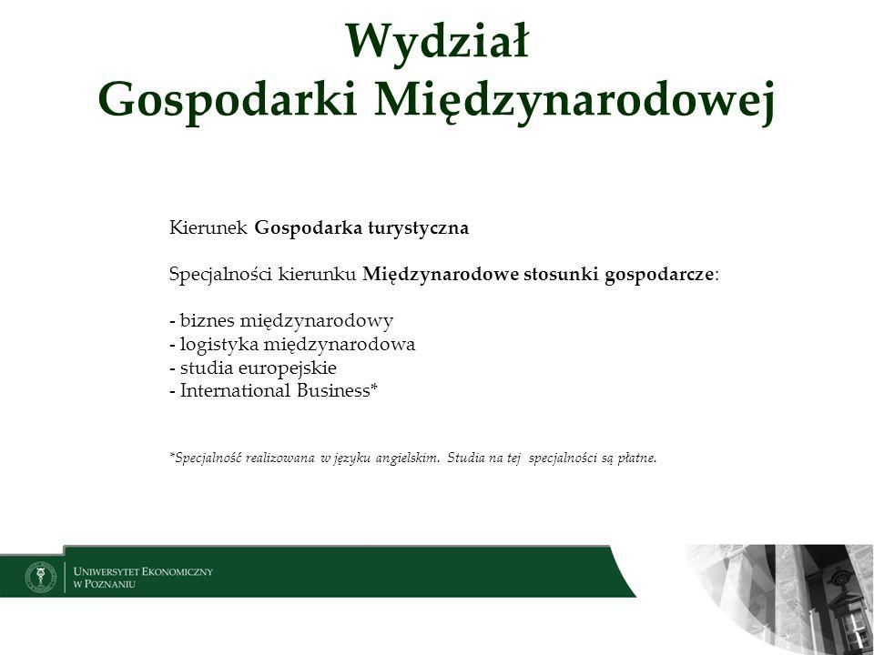 Wydział Gospodarki Międzynarodowej Kierunek Gospodarka turystyczna Specjalności kierunku Międzynarodowe stosunki gospodarcze: - biznes międzynarodowy