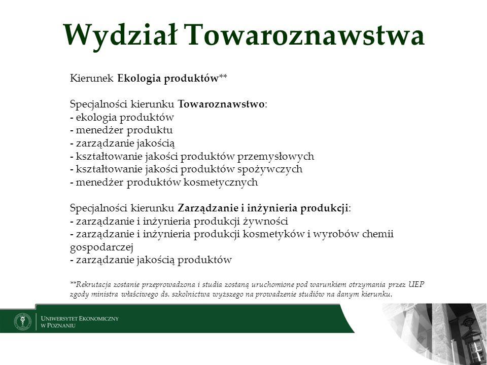 Wydział Towaroznawstwa Kierunek Ekologia produktów** Specjalności kierunku Towaroznawstwo: - ekologia produktów - menedżer produktu - zarządzanie jako