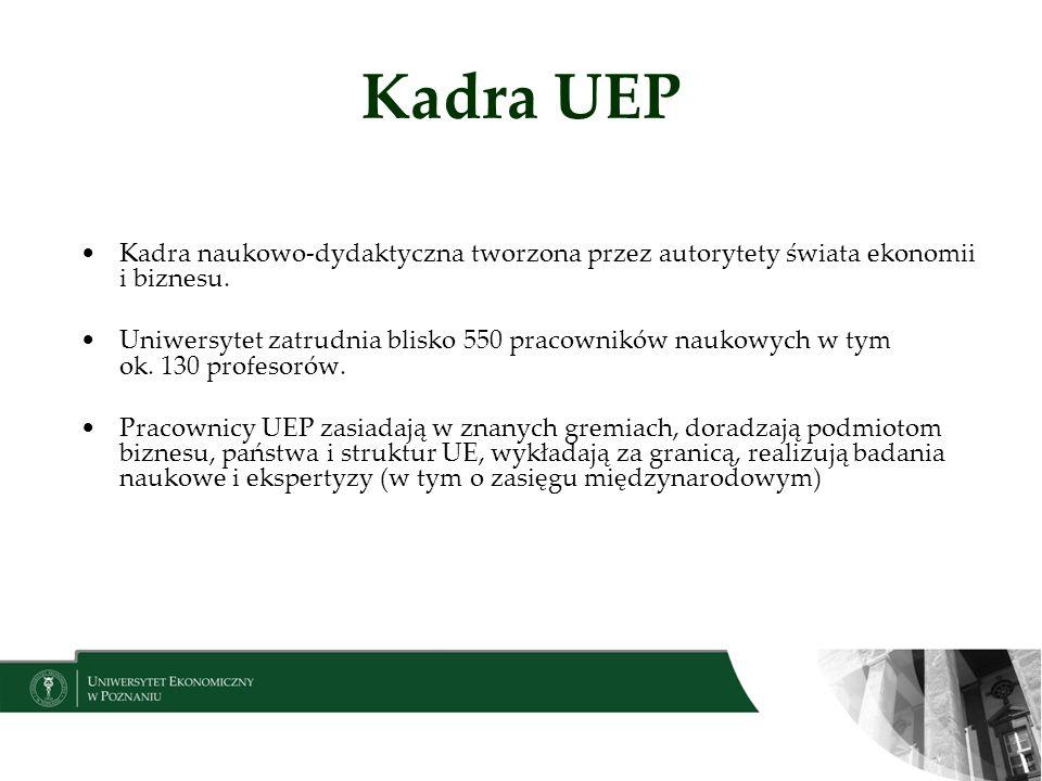 Kadra UEP Kadra naukowo-dydaktyczna tworzona przez autorytety świata ekonomii i biznesu. Uniwersytet zatrudnia blisko 550 pracowników naukowych w tym