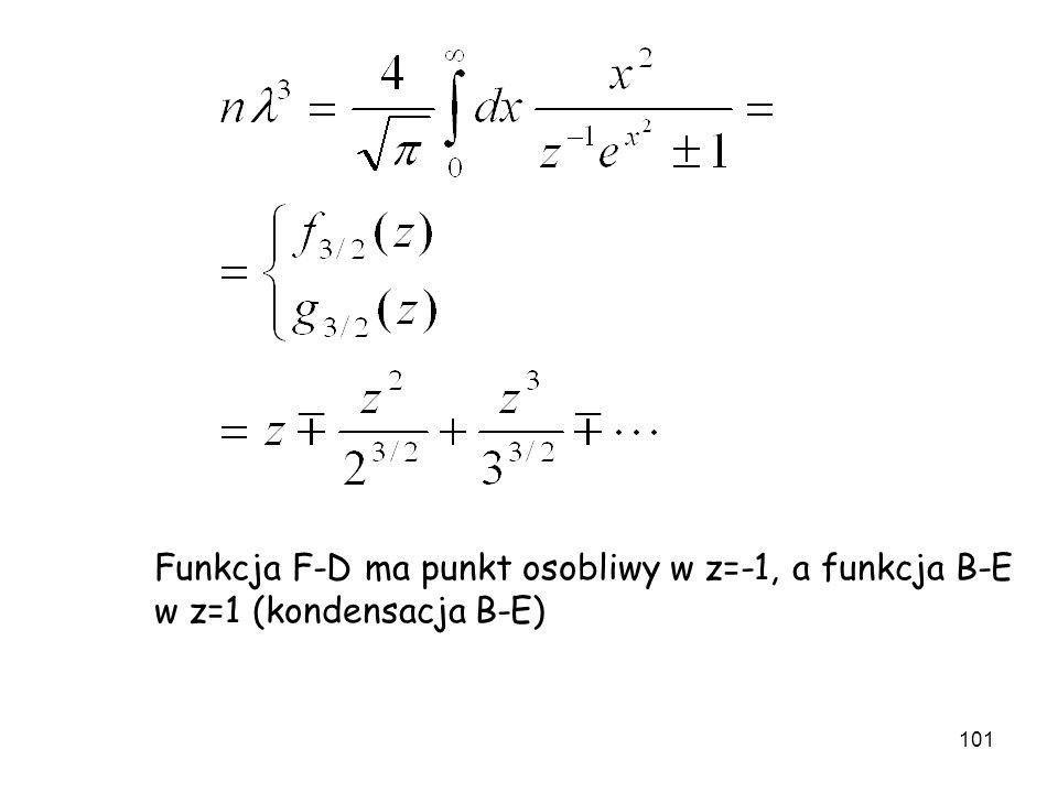 101 Funkcja F-D ma punkt osobliwy w z=-1, a funkcja B-E w z=1 (kondensacja B-E)