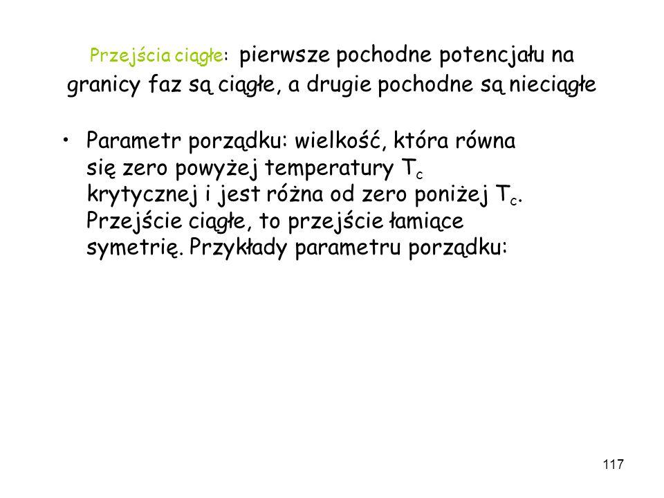 117 Przejścia ciągłe: pierwsze pochodne potencjału na granicy faz są ciągłe, a drugie pochodne są nieciągłe Parametr porządku: wielkość, która równa s