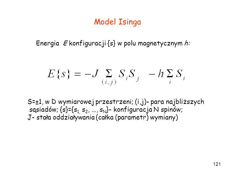 121 Model Isinga S=±1, w D wymiarowej przestrzeni; (i,j)- para najbliższych sąsiadów; {s}={s 1, s 2, …, s N }- konfiguracja N spinów; J- stała oddział
