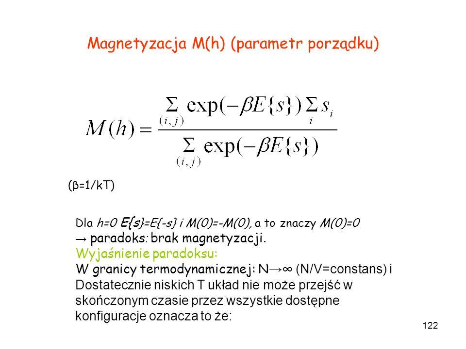 122 Magnetyzacja M(h) (parametr porządku) (β=1/kT) Dla h=0 E{s }=E{-s} i M(0)=-M(0), a to znaczy M(0)=0 paradoks : brak magnetyzacji. Wyjaśnienie para