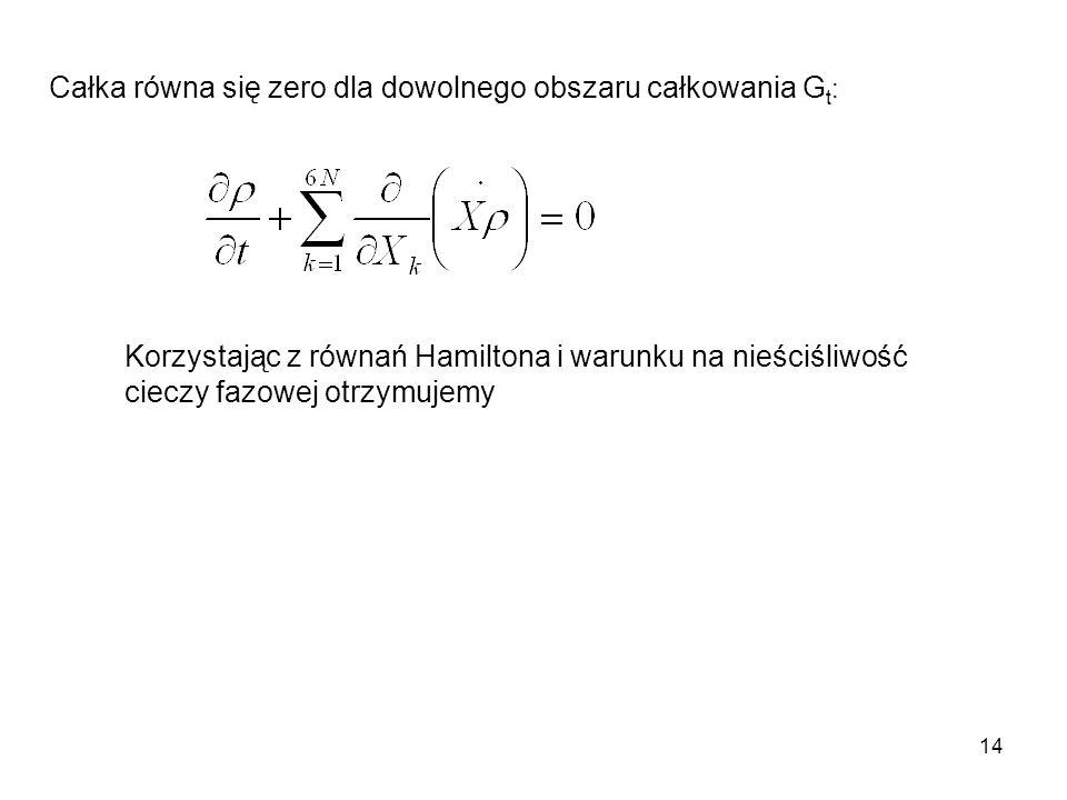 14 Całka równa się zero dla dowolnego obszaru całkowania G t : Korzystając z równań Hamiltona i warunku na nieściśliwość cieczy fazowej otrzymujemy