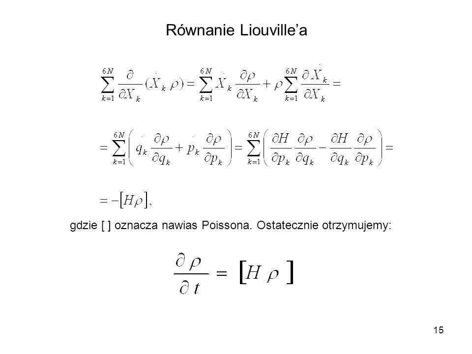 15 Równanie Liouvillea gdzie [ ] oznacza nawias Poissona. Ostatecznie otrzymujemy: