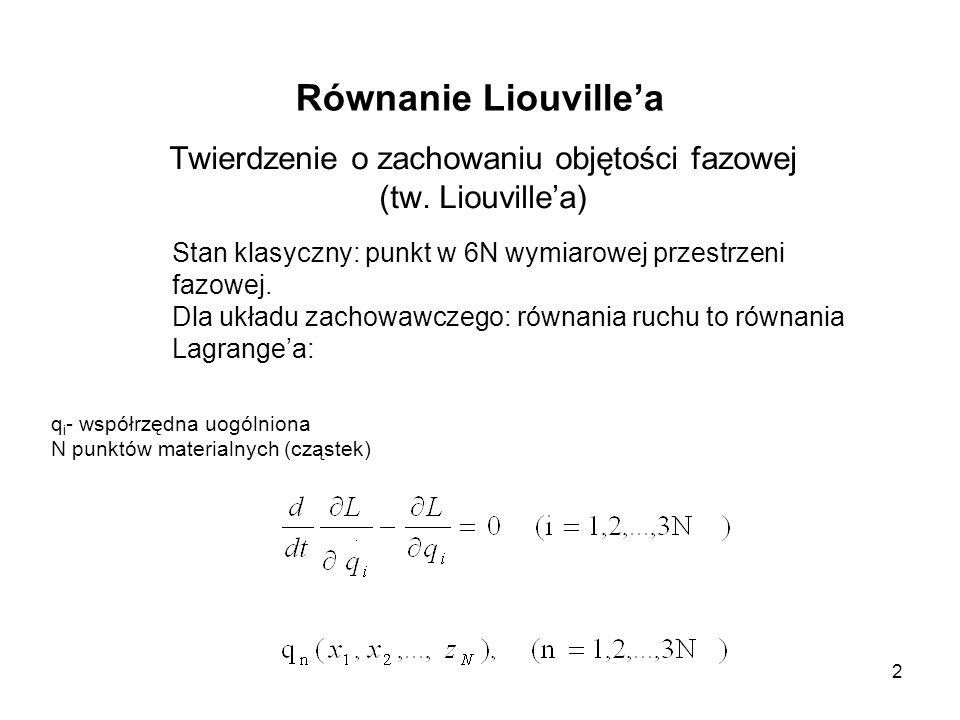 2 Równanie Liouvillea Twierdzenie o zachowaniu objętości fazowej (tw. Liouvillea) Stan klasyczny: punkt w 6N wymiarowej przestrzeni fazowej. Dla układ