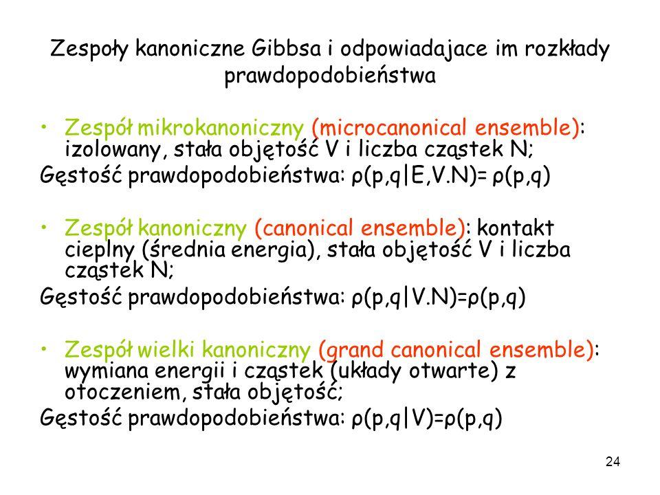 24 Zespoły kanoniczne Gibbsa i odpowiadajace im rozkłady prawdopodobieństwa Zespół mikrokanoniczny (microcanonical ensemble): izolowany, stała objętoś