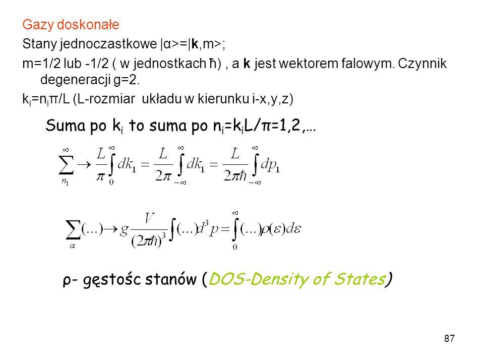 87 Gazy doskonałe Stany jednoczastkowe |α>=|k,m>; m=1/2 lub -1/2 ( w jednostkach ћ), a k jest wektorem falowym. Czynnik degeneracji g=2. k i =n i π/L