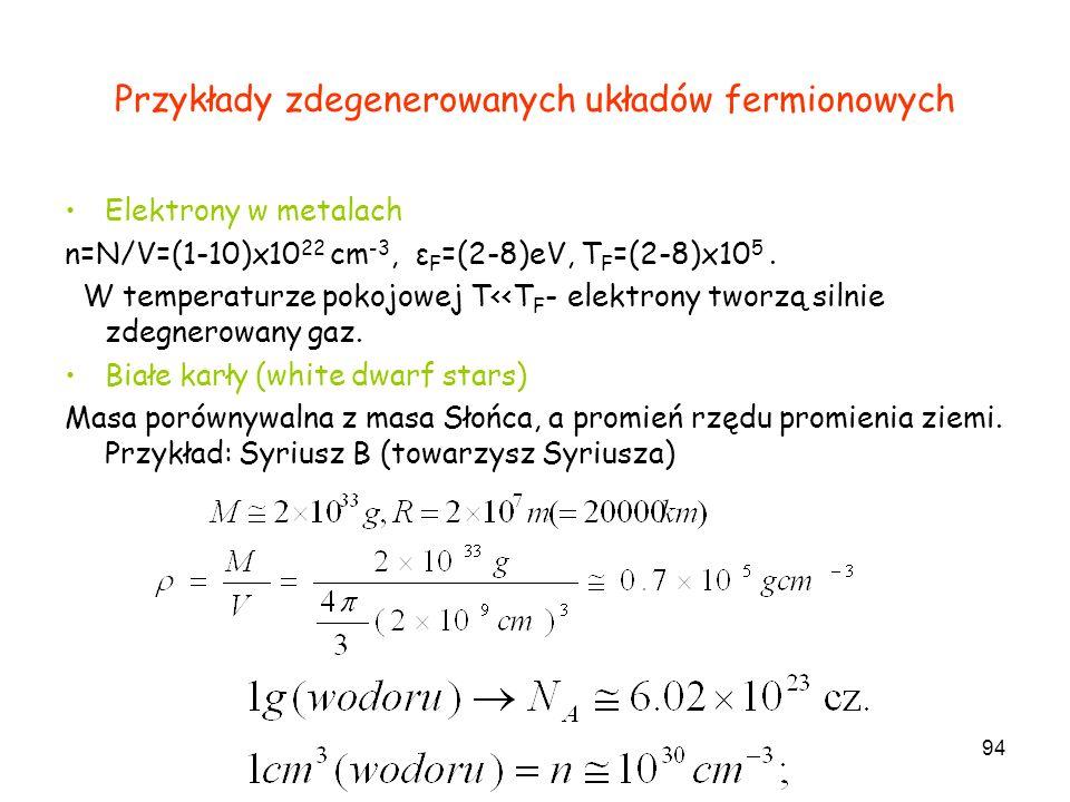 94 Przykłady zdegenerowanych układów fermionowych Elektrony w metalach n=N/V=(1-10)x10 22 cm -3, ε F =(2-8)eV, T F =(2-8)x10 5. W temperaturze pokojow