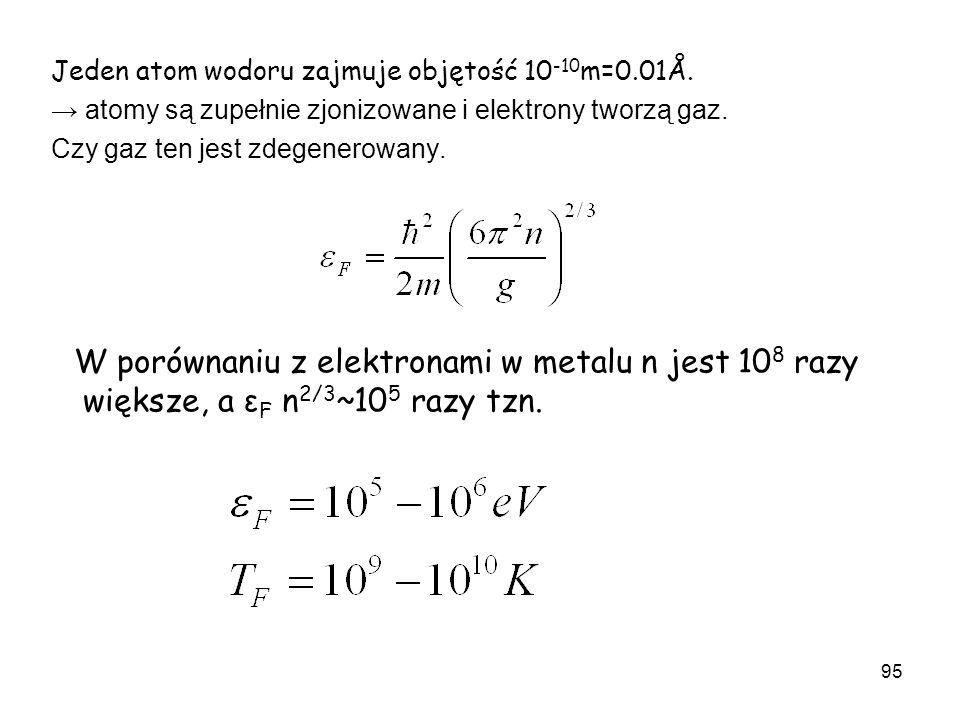 95 Jeden atom wodoru zajmuje objętość 10 -10 m=0.01Å. atomy są zupełnie zjonizowane i elektrony tworzą gaz. Czy gaz ten jest zdegenerowany. W porównan
