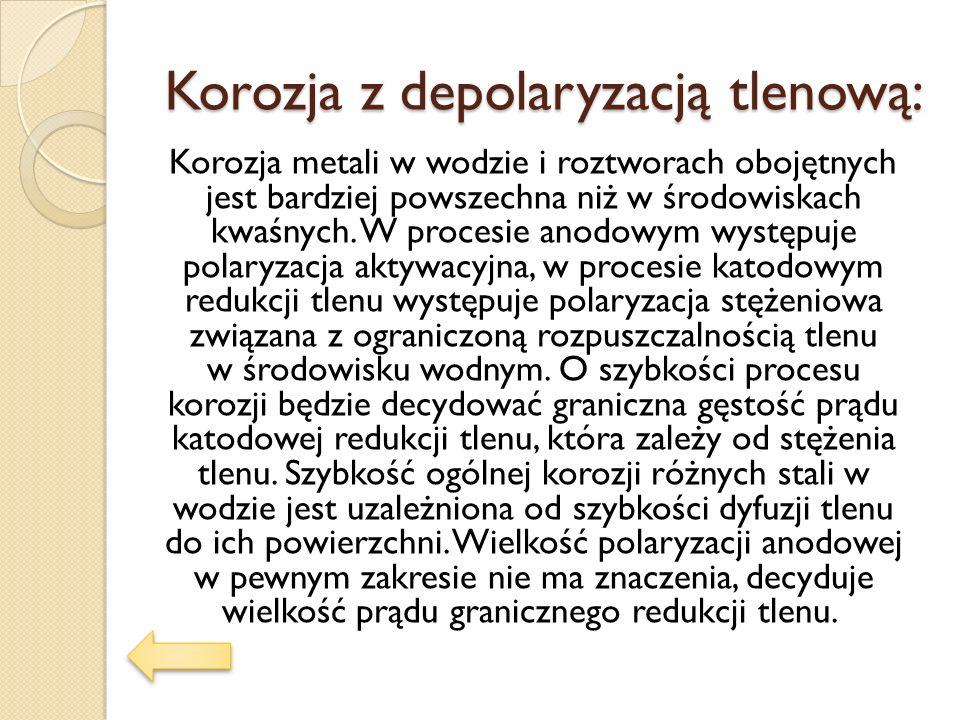 Korozja z depolaryzacją tlenową: Korozja metali w wodzie i roztworach obojętnych jest bardziej powszechna niż w środowiskach kwaśnych. W procesie anod
