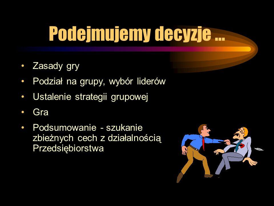Podejmujemy decyzje... Zasady gry Podział na grupy, wybór liderów Ustalenie strategii grupowej Gra Podsumowanie - szukanie zbieżnych cech z działalnoś