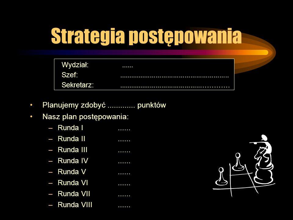 Strategia postępowania Planujemy zdobyć............. punktów Nasz plan postępowania: –Runda I...... –Runda II...... –Runda III...... –Runda IV...... –