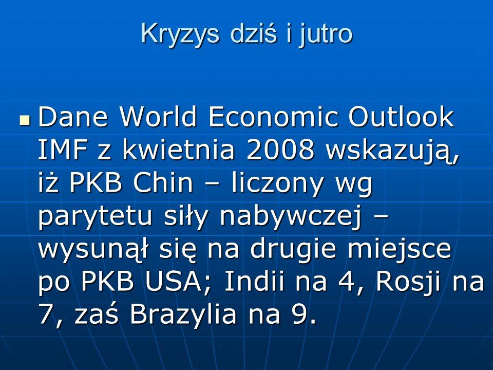 Kryzys dziś i jutro Dane World Economic Outlook IMF z kwietnia 2008 wskazują, iż PKB Chin – liczony wg parytetu siły nabywczej – wysunął się na drugie