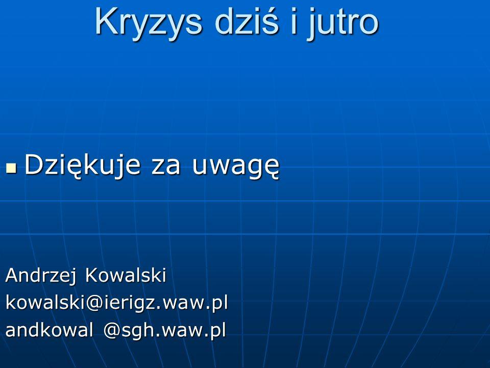 Kryzys dziś i jutro Dziękuje za uwagę Dziękuje za uwagę Andrzej Kowalski kowalski@ierigz.waw.pl andkowal @sgh.waw.pl