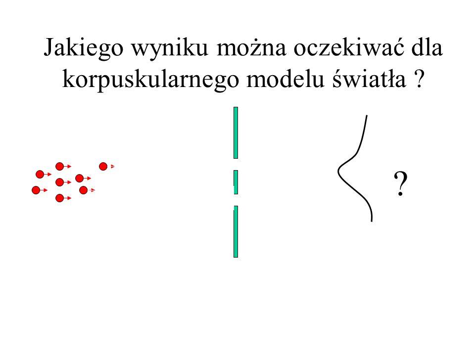 Jakiego wyniku można oczekiwać dla korpuskularnego modelu światła .