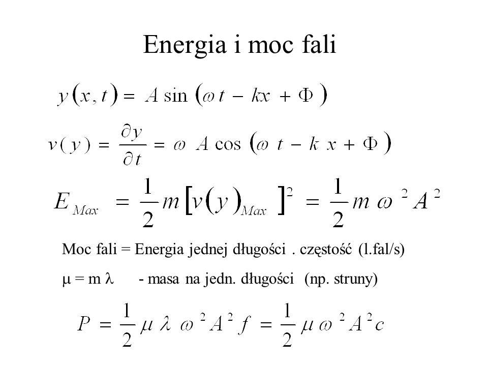 kwadratu częstość f Energia fali Energia fali jest proporcjonalna do: kwadratu amplitudy A oraz ZJAWISKA TYPOWE DLA FAL TO: DYFRAKCJA INTERFERENCJA POLARYZACJA