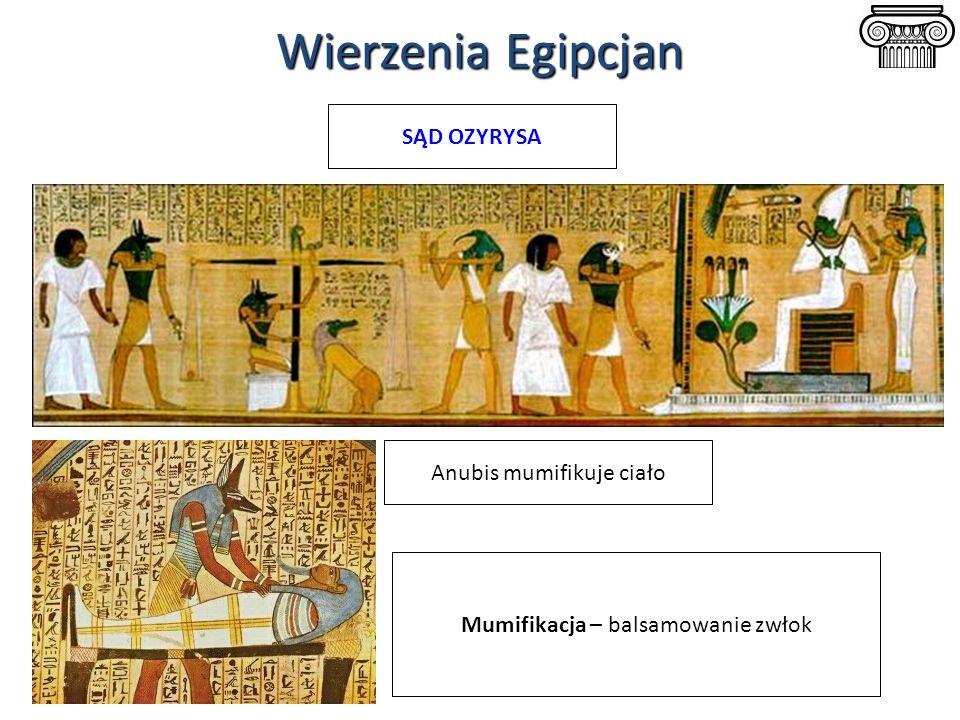 Wierzenia Egipcjan SĄD OZYRYSA Anubis mumifikuje ciało Mumifikacja – balsamowanie zwłok