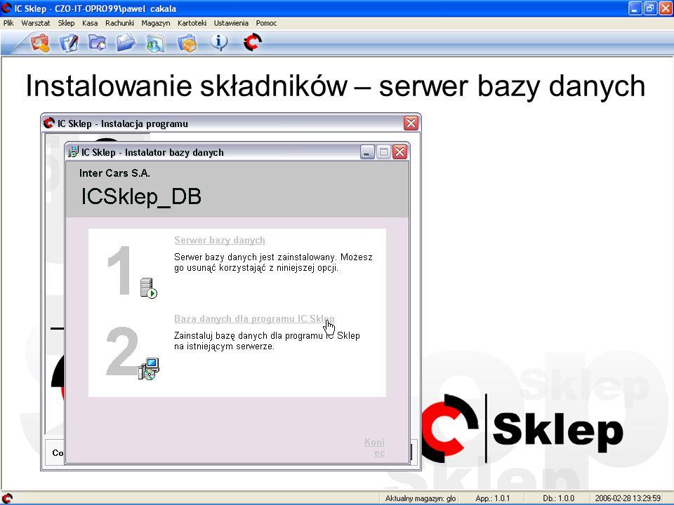Instalowanie składników – serwer bazy danych