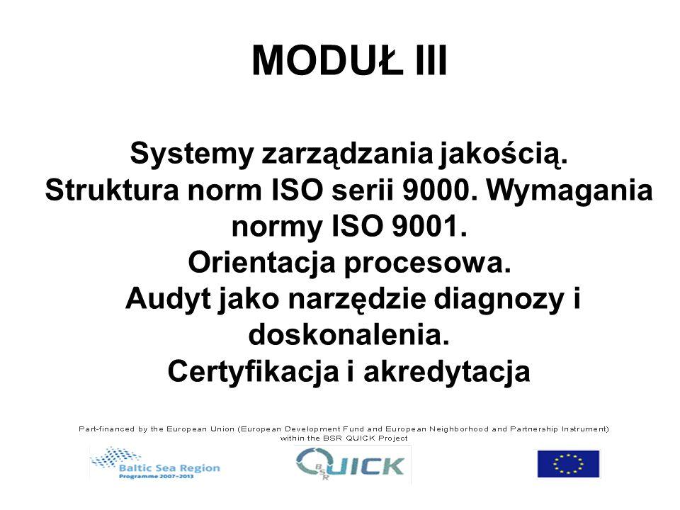 MODUŁ III Systemy zarządzania jakością.Struktura norm ISO serii 9000.