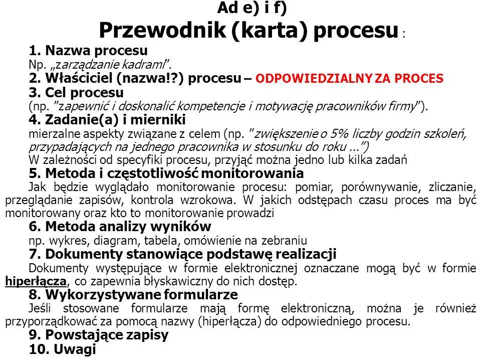 Ad e) i f) Przewodnik (karta) procesu : 1.Nazwa procesu Np.
