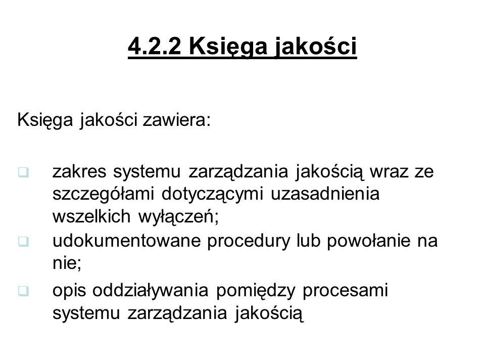 4.2.2 Księga jakości Księga jakości zawiera: zakres systemu zarządzania jakością wraz ze szczegółami dotyczącymi uzasadnienia wszelkich wyłączeń; udokumentowane procedury lub powołanie na nie; opis oddziaływania pomiędzy procesami systemu zarządzania jakością