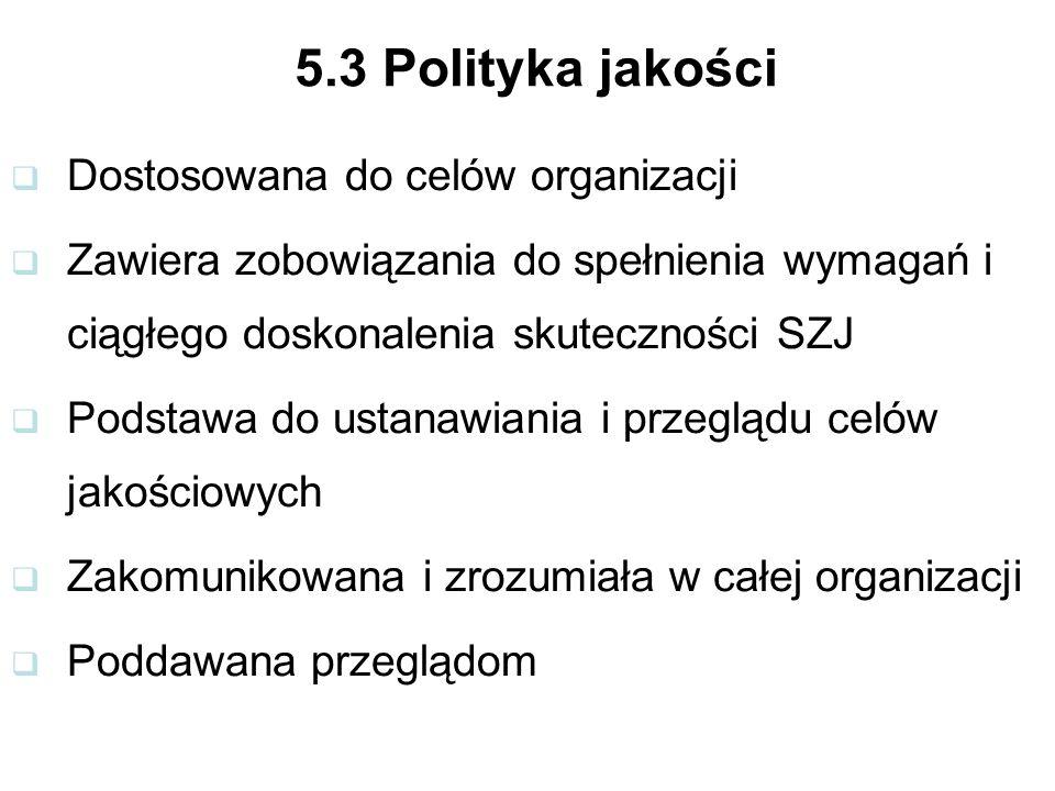 5.3 Polityka jakości Dostosowana do celów organizacji Zawiera zobowiązania do spełnienia wymagań i ciągłego doskonalenia skuteczności SZJ Podstawa do ustanawiania i przeglądu celów jakościowych Zakomunikowana i zrozumiała w całej organizacji Poddawana przeglądom