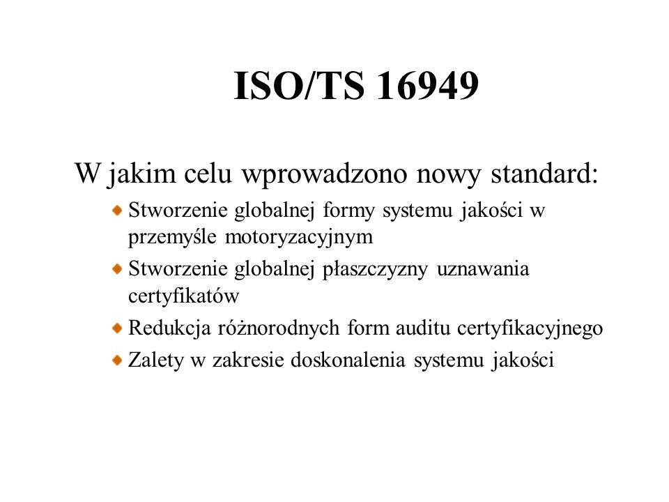 ISO/TS 16949 W jakim celu wprowadzono nowy standard: Stworzenie globalnej formy systemu jakości w przemyśle motoryzacyjnym Stworzenie globalnej płaszczyzny uznawania certyfikatów Redukcja różnorodnych form auditu certyfikacyjnego Zalety w zakresie doskonalenia systemu jakości