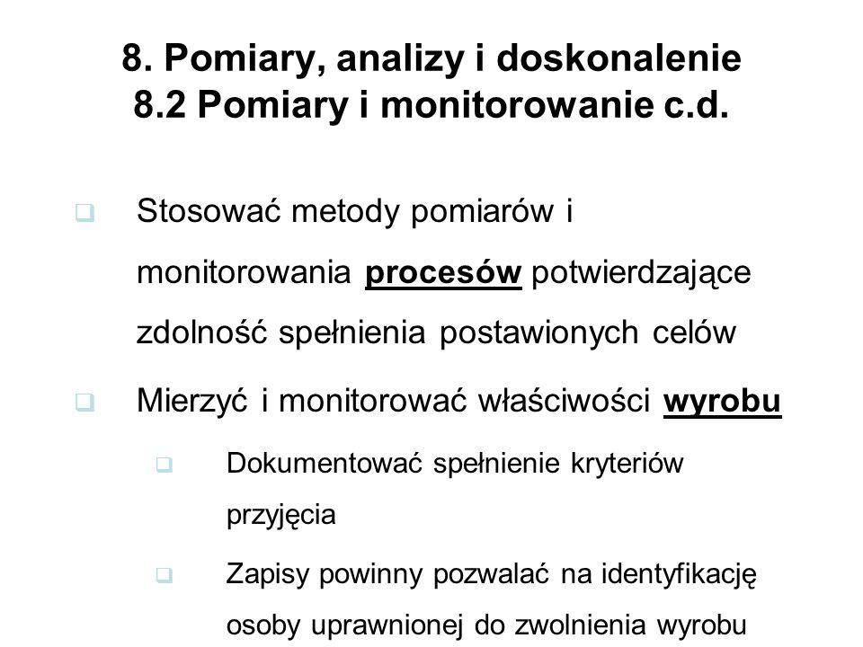 8.Pomiary, analizy i doskonalenie 8.2 Pomiary i monitorowanie c.d.