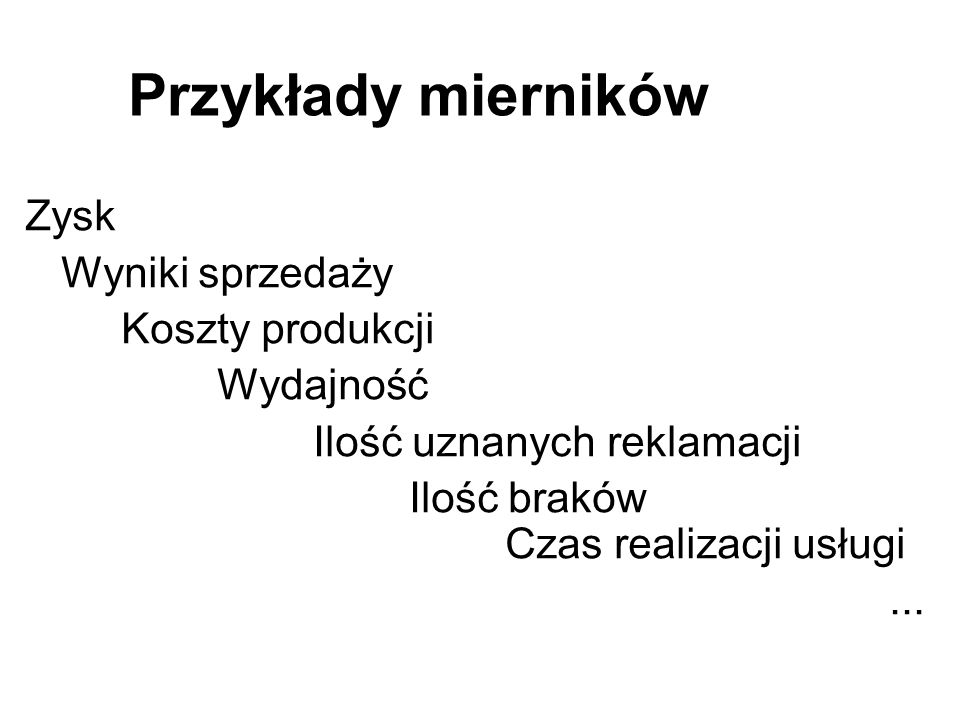 Przykłady mierników Zysk Wyniki sprzedaży Koszty produkcji Wydajność Ilość uznanych reklamacji Ilość braków Czas realizacji usługi...