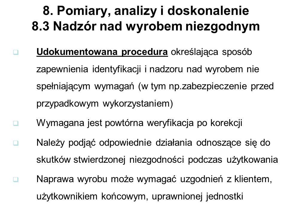 8. Pomiary, analizy i doskonalenie 8.3 Nadzór nad wyrobem niezgodnym Udokumentowana procedura określająca sposób zapewnienia identyfikacji i nadzoru n